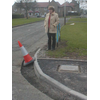 Helen Dick, LibDem councillor for Strathmartine Ward, campaigning for road repairs in Kirkton and Downfield