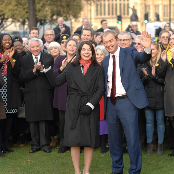 Sarah Olney, Tim Farron and Lib Dem supporters (Jon Ball)