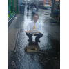 Fraser Macpherson at the drain hazard at Commercial Street - campaigning for action by Scottish Water