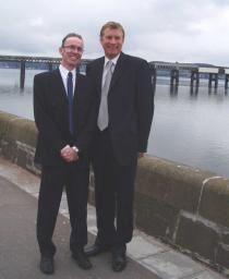 Nicol Stephen MSP with Cllr Fraser Macpherson pictured in Dundee's West End