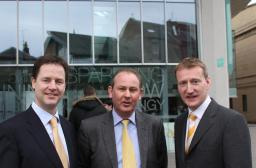 John Barnett with Nick Clegg and Tavish Scott
