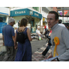 Liberal Democrat Tay Bridges Ward Councillor Fraser Macpherson campaigning in Dundee's Murraygate