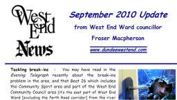 Cllr Fraser Macpherson's September 2010 Update to West End Community Council