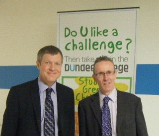 Willie Rennie MSP with Cllr Fraser Macpherson at Dundee College